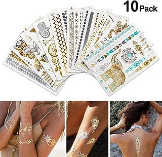 Tatuajes Adhesivos, Rymall 10 pcs Tatuajes Temporales Adultos Tattoos Infantiles Tatuajes Brillantes Niños Tatuajes Dorados