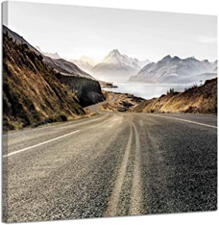 Mountain Canvas Pictures Wall Art: Country Road Landscape Artwork Painting Print on Canvas for Bedroom or Office (24'' x 18'')