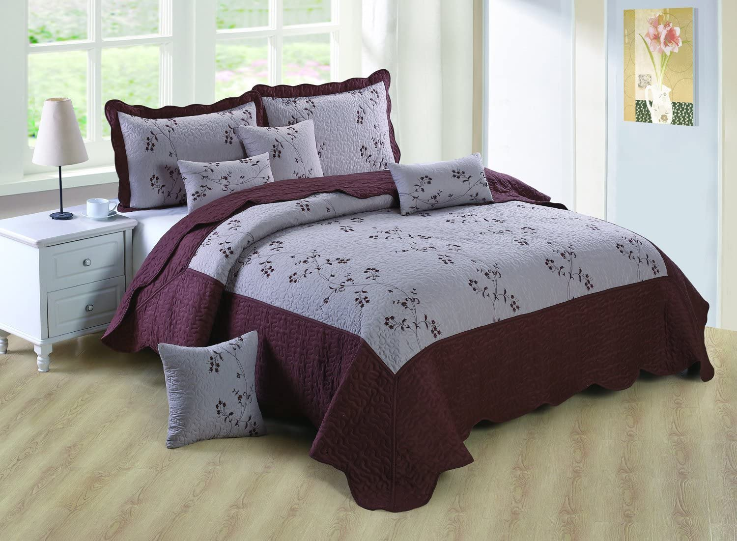 DOLCA CASA Embroidery Bed Spread With 2 Free Pillow Cases,Bed Throw 100/% Cotton Feel Double, Silver