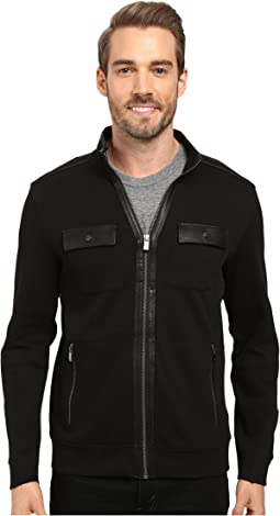 Calvin Klein - Long Sleeve Solid French Rib Four-Pocket Mock Shirt