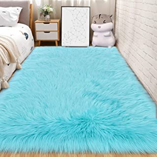 Andecor Soft Fluffy Faux Fur Bedroom Rugs 4 x 6 Feet Indoor Wool Sheepskin Area Rug for Girls Baby Living Room Chair Sofa Home Decor Floor Carpet, Light Blue