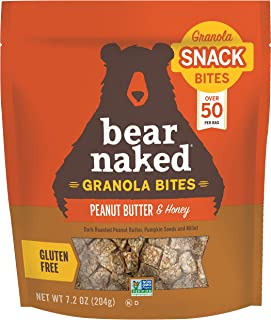 Bear Naked, Granola Bites, Peanut Butter and Honey, Vegetarian and Gluten Free Snacks, 7.2oz Bag