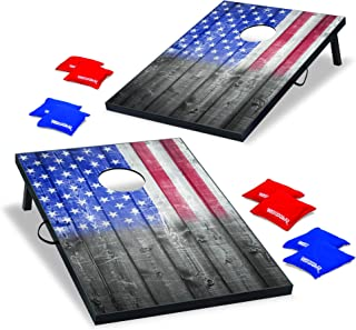 Wild Sports USA Flag Cornhole Outdoor Game Set, MDF Wood, 2' x 3' Foot, Red/White/Blue (TT-SAS-03)