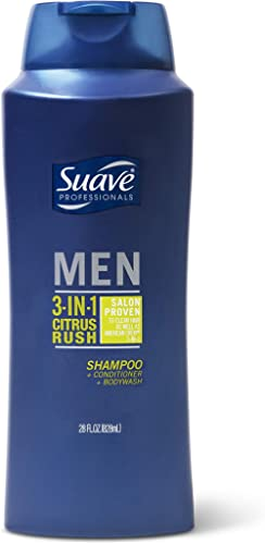 Suave Men 3-in-1 Shampoo Conditioner Body Wash for Gentle Cleansing and Conditioning Citrus Rush Mens Shampoo 3 in 1 ...