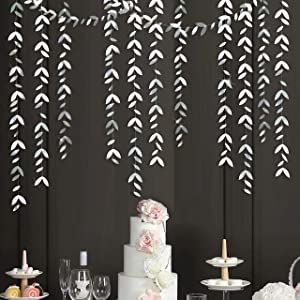52 Ft Silver Party Decorations Leaf Garland Kit Paper Hanging Silver Leaves Streamer Banner for Wedding Bridal Shower Engagement Bachelorette Anniversary Birthday Showcase Garden Party Decor (4 Packs)