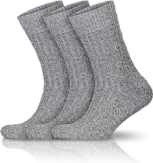Go With Collection, 3 pares de calcetines noruegos para hombre, gruesos, de lana, de invierno, calcetines de punto, cálidos, con lana gris 43-46