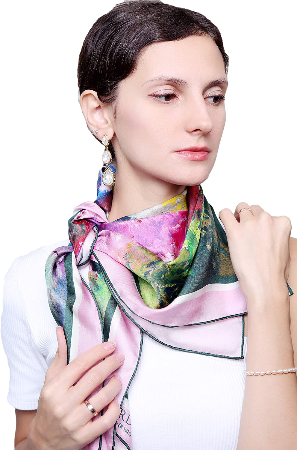 100% Pure Mulberry Silk Square -35''x35''- Scarf Blooming Ranking TOP1 Garden Max 52% OFF