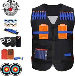 Tactical Vest with ACCESSORIES GALORE: Fully Equipped For kids Games, With 50 Ammo Darts Standard And Glow In The Dark, Arm Band, Cartridges, Face Masks, Safety Glasses, Targets and more!