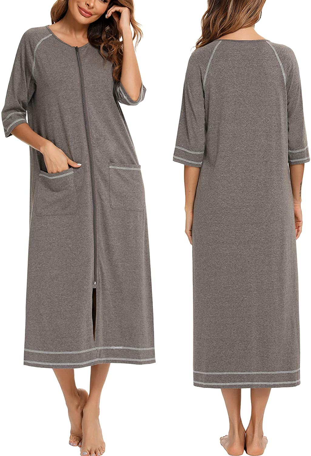 Veseacky Women latest Robe Zipper Front House Sleeve Max 56% OFF 4 3 Nightgown Coat