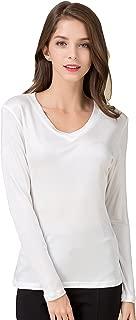 CLC Women's Mulberry Silk T-Shirt Long Sleeve V-Neck Tank Knit Fabric