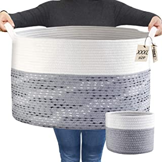 COMFY-HOMI 2pc Blanket Baskets Living Room Cotton Woven Rope Basket Laundry Hamper Baby Nursery Storage Organizer Laundry ...