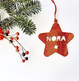 Estrellas de Navidad con nombre troquelado de metacrilato glitter personalizadas ornamento para el árbol de Navidad