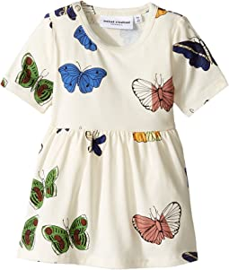 mini rodini - Butterflies Short Sleeve Dress (Infant/Toddler/Little Kids/Big Kids)