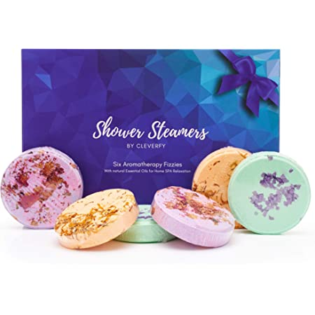 Cleverfy Aromatherapy Shower Steamers - Father's Day Variety Pack of 6 Shower Bombs. Blue Set: Watermelon, Grapefruit, Menthol & Eucalyptus, Peony & Pear, Cacao & Orange, Lemongrass & Coconut