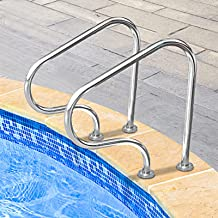 Pasamanos Barandillas para piscina, 2 piezas, acero inoxidable de primera calidad 304, barandillas de seguridad para piscina para entrada de piscina enterrada con cubierta de agarre azul de 4 pies