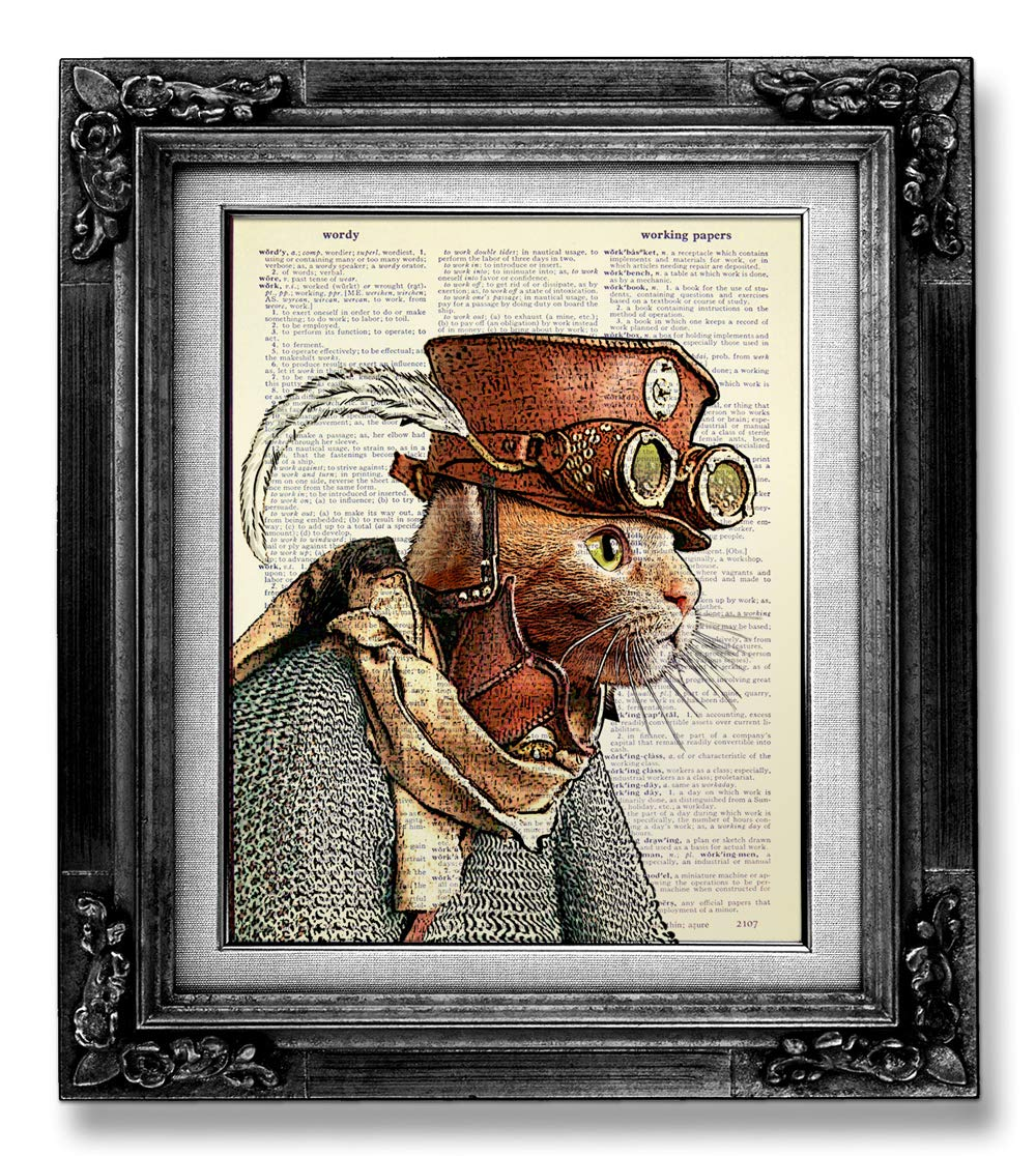 Funny Steampunk Cat Dictionary Art Print page Book Vintage Limited Tulsa Mall time for free shipping