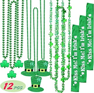 Tobeape 12Pieces St. Patrick's Day Shamrock Necklace, Clover Green Pendant Necklace, Irish Hat Green Bead Necklace and Sho...