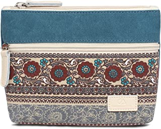 Zipper Coin Purse Pouch FanCarry Canvas Ethnic Print Wallet with Cellphone Pocket