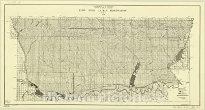 Historic Pictoric Map : Montana 1934, Fort Peck Indian Reservation, Montana, 1934, Antique Vintage Reproduction : 82in x 44in