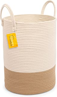 OrganiHaus Cotton Rope Basket in Off-White/Honey Colors | Tall Storage Basket with Long Handles | Decorative Blanket Basket for Living Room and Laundry