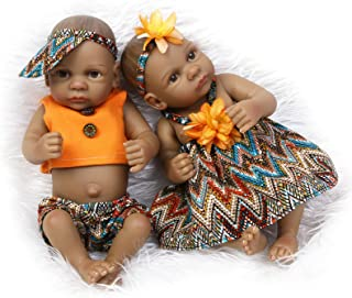 Pinky 10inch 26cm Full Body Silicone Soft Vinyl Real Looking Reborn Baby Dolls Lifelike Native American Indian Style Black Skin Twins Birthday and Xmas Gift