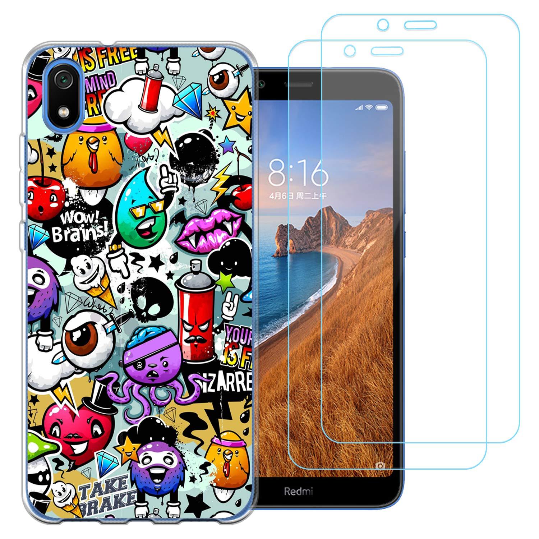 jrester Funda para Xiaomi Redmi 7A, Animal 438 Transparente Silicona Smartphone Cascara Protectora para Xiaomi Redmi 7A con Dos Pelicula Protectora Vidrio Templado: Amazon.es: Electrónica