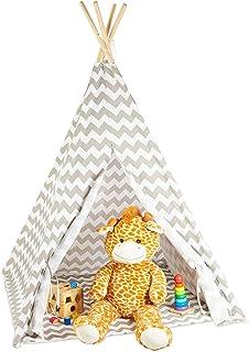 Relaxdays Tipi tält, lektält med botten, inklusive bärkasse, wigwam barntält, H x B x D: 160 x 115 x 115 cm, vit-grå