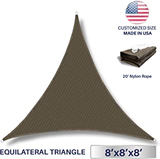 Windscreen4less 8' x 8' x 8' Triangle Sun Shade Sail - Brown Durable UV Shelter Canopy for Patio Outdoor Backyard - Custom