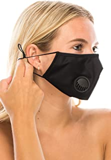 Reusable Mouth and Nose Cover Washable With Breathing Valve Replaceable Filter Insert Against Dust, Pet Dander, Pollutants and Irritants (Black)