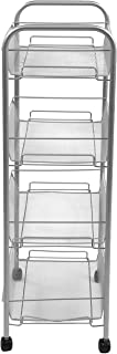 Mind Reader 4AMESHT-SIL 4 Tier Mobile Office Cart, All-Purpose Utility Cart, Silver