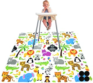 Paw Legend Washable Highchair Splat Floor Mat- Anti-Slip Silicone Spot Splash Mess Mat(130cm X 130cm)-Food Catcher Art Cra...