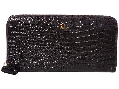 LAUREN Ralph Lauren Mini Croc Embossed Zip Continental Wallet Large (Black) Handbags