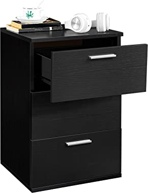 YAHEETECH End Side Table Nightstand with 3 Drawers, Wooden Sofa Bed Side Storage Stand Cabinet for Bedroom, Accent Night Stan