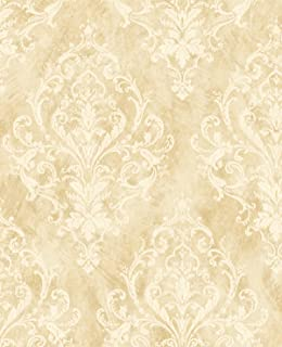 Victorian Damask Gold Wallpaper Cream Vintage Morris Style Design