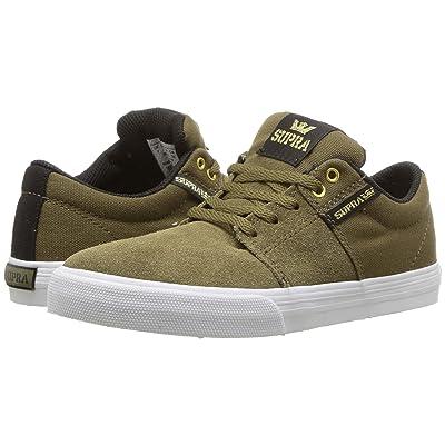 Supra Kids Stacks Vulc II (Little Kid/Big Kid) (Olive/Black/White) Boys Shoes