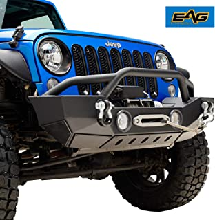 EAG Front Bumper with Fog Light Hole & Winch Plate Fit for 07-18 Jeep Wrangler JK
