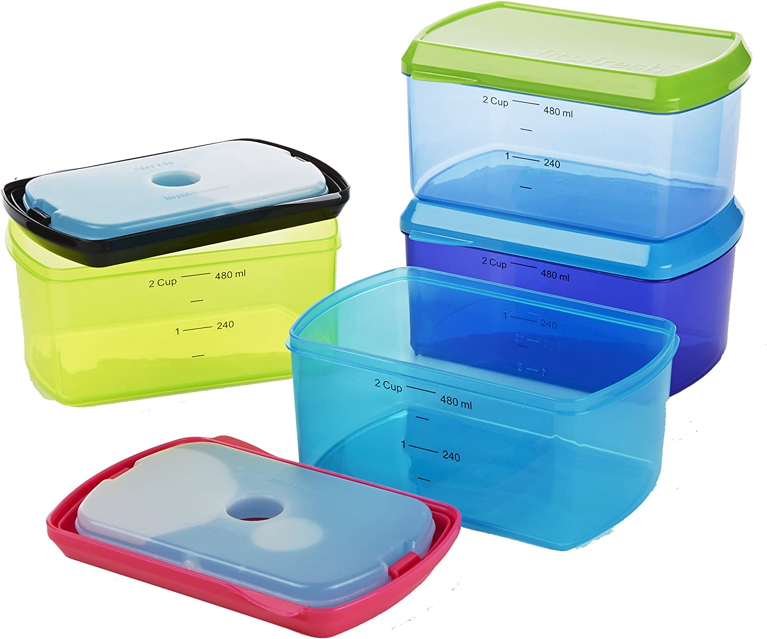 Fit & Fresh Kids' 2-Cup Chilled Containers, Set of 4 Reusable Portion Control Containers with Removable Ice Packs, BPA-Free, Freezer/Microwave/Dishwasher Safe