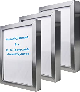 Natural art 11x14 Inch Removable Stretched Canvas with Reusable Frames Pack of 3 for Paintings Silver