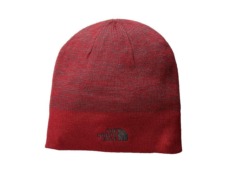The North Face Stripe Logo Beanie (Rage Red/Asphalt Grey) Beanies