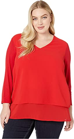 Plus Size Multi Woven Layer Top