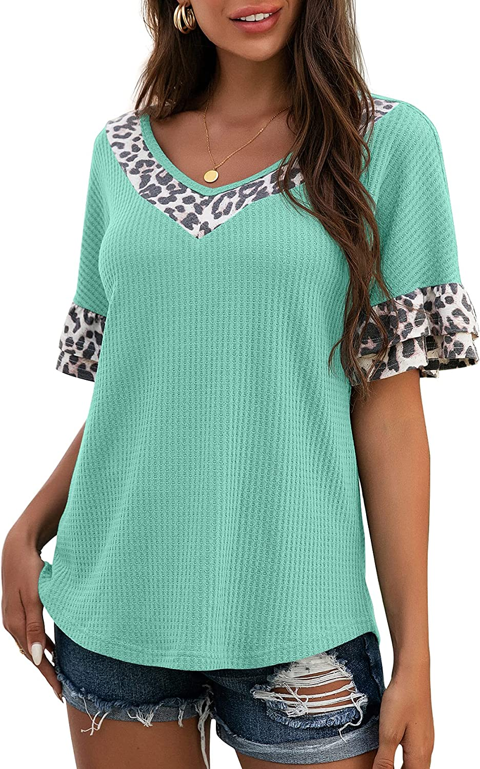 IWOLLENCE Women's Waffle Knit Leopard V Neck Top Ruffle Short Sleeves Casual Summer Blouse