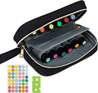 Simboom Essential Oil Carrying Case, Portable Storage Organizer Hold 12 Essential Oil Bottles (5-15ml) with Accessories (Bottles not included) - Black