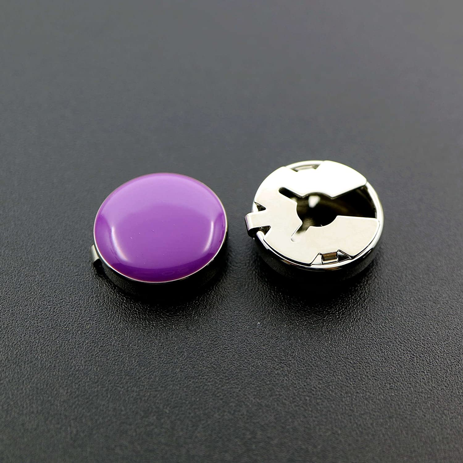 Ms.Iconic 17.5MM Black,Blue,Purple Round Cuff Button Cover Cuff Links for Wedding Formal Shirt 6Pcs/Set