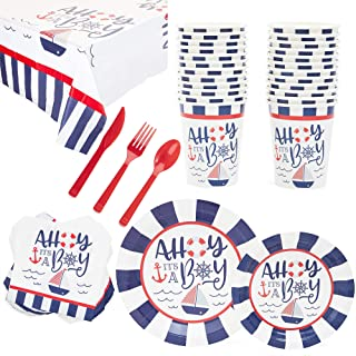 Sparkle and Bash Ahoy It's a Boy Nautical Baby Shower Party Pack (Serves 24)