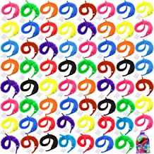 Elcoho 100 Pieces Magic Worm Toys Magic Wiggly Twisty Fuzzy Worm for Carnival Party Supplies with an Organza Bag, 10 Colors