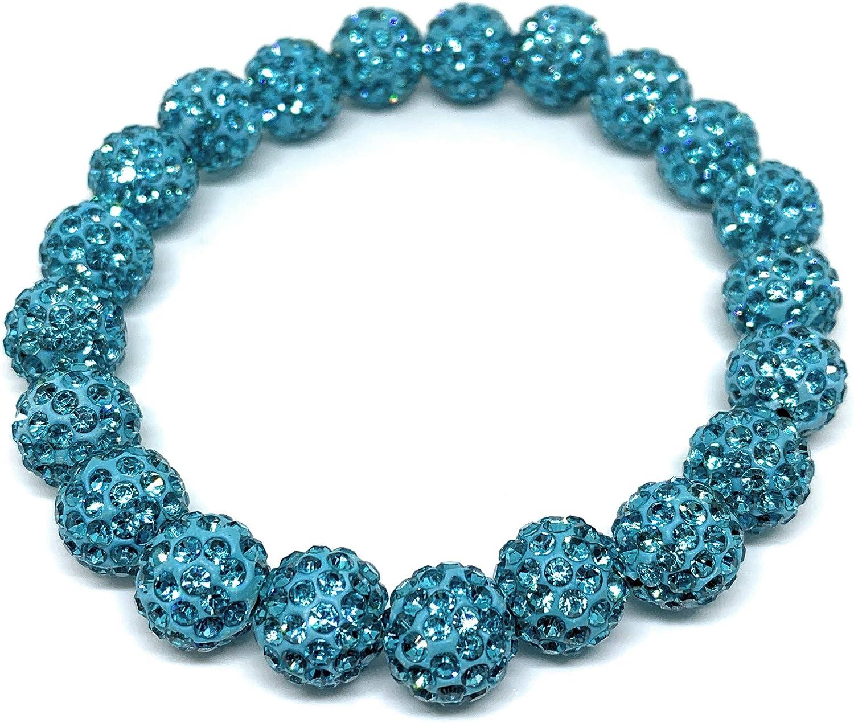 Bracelet Teal Blue Rustic Rhinestone shamballa Beaded Cuff wrap