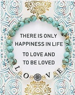 BONALUNA My Wish Love Mantra 6mm Green Turquoise Color Stone Meditation & Healing Bracelets for Women