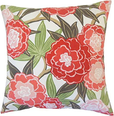 The Pillow Collection P18-ROB-PEONYVINE-CORAL-C100 Iniabi Floral Pillow, Coral
