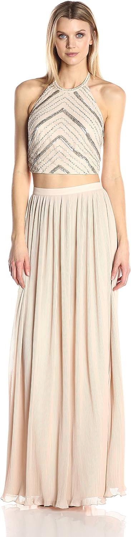 Aidan Mattox Womens Hand Beaded Crop Top Dress Dress