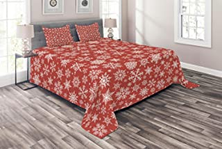 Ambesonne Red Coverlet, Various Different Snowflakes with Rich Details Christmas Season in Wintertime, 3 Piece Decorative Quilted Bedspread Set with 2 Pillow Shams, Queen Size, Red White